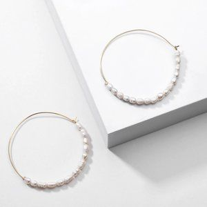 Anthropologie Earrings Pearl Hoop Large